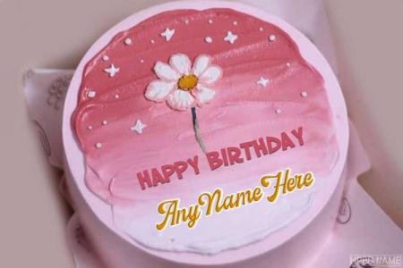 Lovely Pink Flower Birthday Cake With Your Name