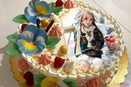 Print Photo On Flower Decorated Vanilla Birthday Cake