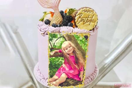 Pink Cute Birthday Cake With Photo Edit