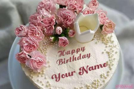 Pink Color Rose Flower Birthday Cake With Name On It