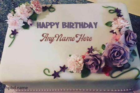 Latest Purple Flower Happy Birthday Cake By Name Editing
