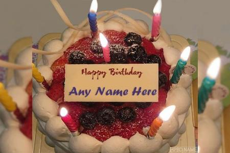 Amazing Candle Cake For Birthday Wishes With Name