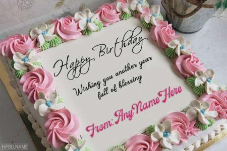 Write Name On Pink Rose Flower Birthday Cake Pics