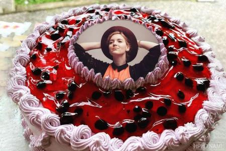 Delicious Strawberry Jam Birthday Cake With Photo Editing