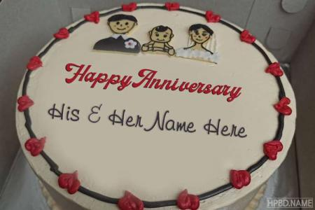 Write Your Name On Happy Wedding Anniversary Cakes