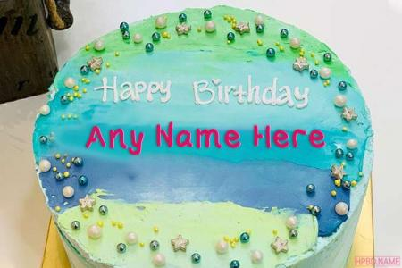 Ocean Blue Birthday Cake With Your Name