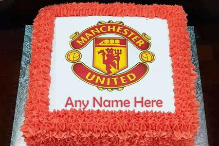 Personalised Manchester United Football Cake With Name Edit
