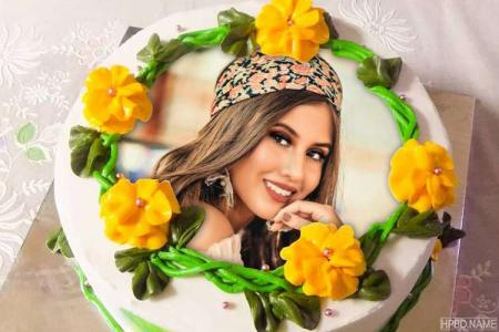 Beautiful Yellow Flower Birthday Cake With Your Photo