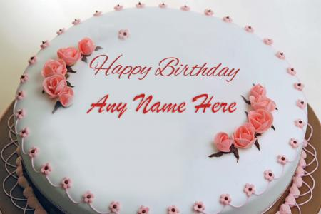 Beautiful Flower Birthday Cake By Name Editing