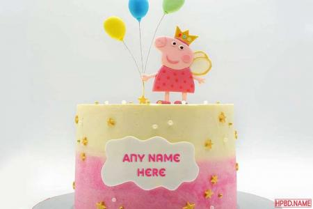 Write Name on Princess Peppa Pig Birthday Wishes Cake Online