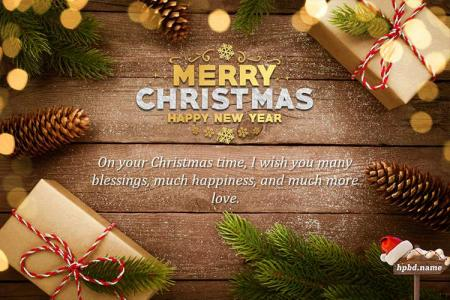 Sparkling Merry Christmas And New Year Wishes Card Online