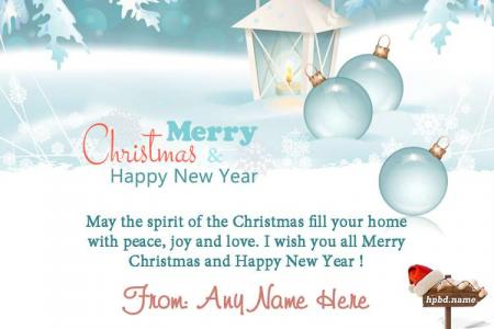 Winter Christmas And New Year Wishes Card With Name