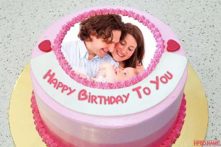 Lovely Pink Birthday Wishes Cake With Name And Photo