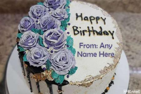 Elegant Purple Birthday Cake With Name