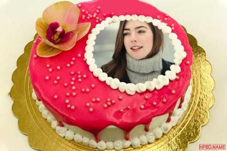 Photo On Lovely Red Birthday Cake