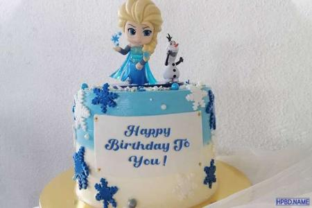 Write Name On Frozen Elsa Birthday Cake Online