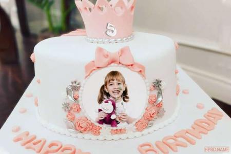 Princess Crown Birthday Cake With Photo And Age