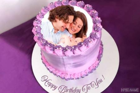 Purple Flower Birthday Cake With Name And Photo