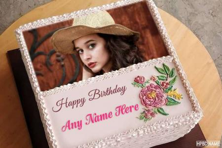 Create Square Floral Birthday Cake With Name And Photo