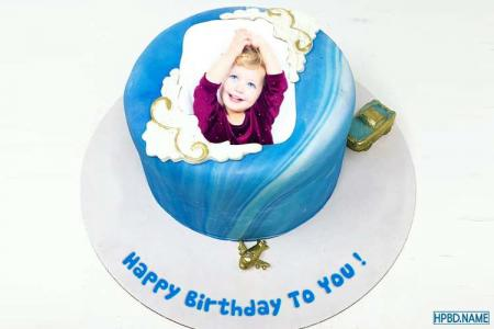 Lovely Blue Birthday Cake With Name And Photo