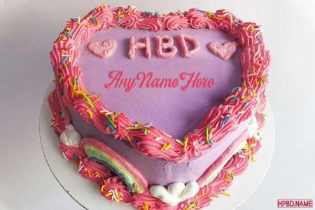 Pink Heart Shaped Birthday Cake With Name Edit