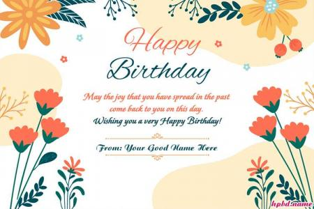 Lovely Floral Happy Birthday Card With Name