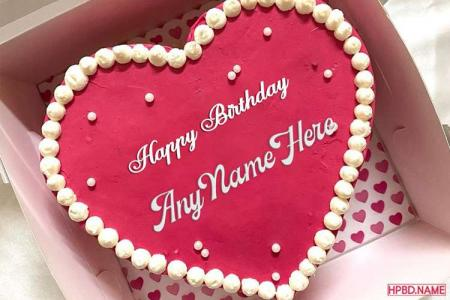 Write Your Name On Romantic Pink Heart Birthday Cake