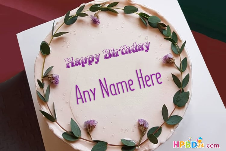 Purple Birthday Cake With Name Editing