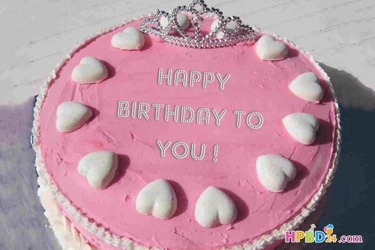 Sweet Princess Crown Birthday Name Cake
