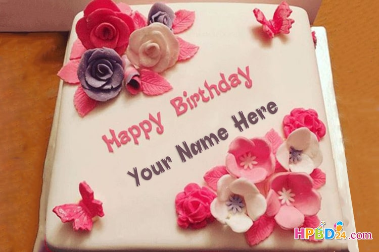 Lovely Flowers Birthday Cake With Name