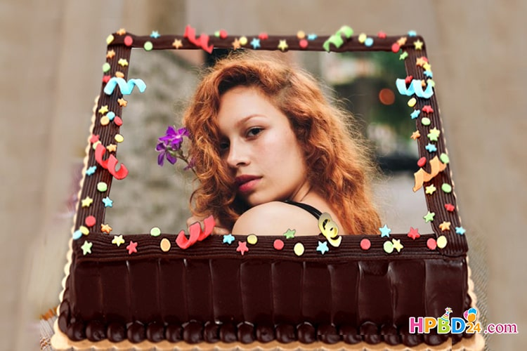 Photo on Happy Birthday Cake With Red Ribbon
