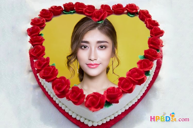 Sweet Heart Shaped Cake With Photo Frame Edit