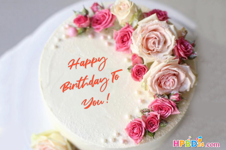 Rose Flower Birthday Cake With Name Generator