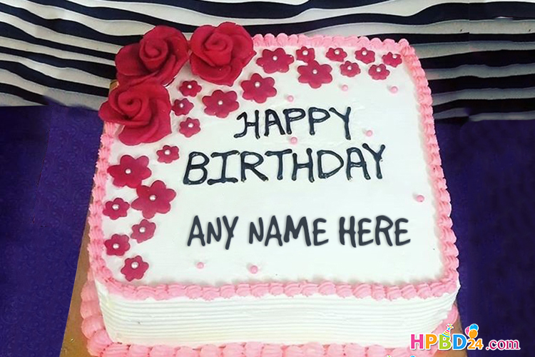 Rose Flower Birthday Cake With Name Generator
