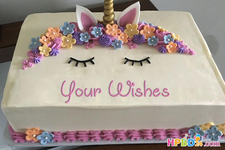 best unicorn happy birthday cake with name