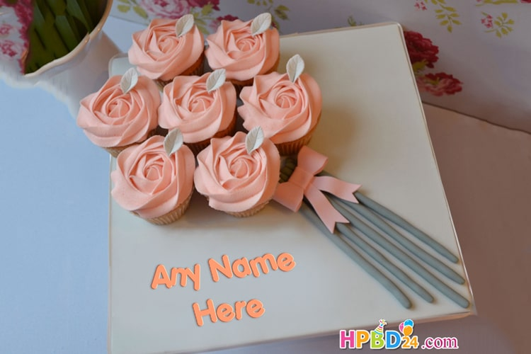 Floral Cupcake Bouquet Cake With Name Edit