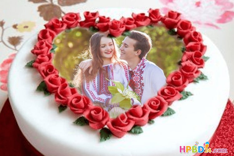 Red Rose Heart Birthday Cake With Photo Frame
