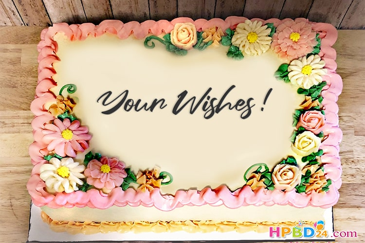 Write Name on Flower Birthday Cakes