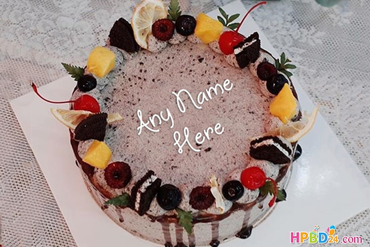 Sensational Fresh Fruit Birthday Cake With Name Generator Funny Birthday Cards Online Overcheapnameinfo