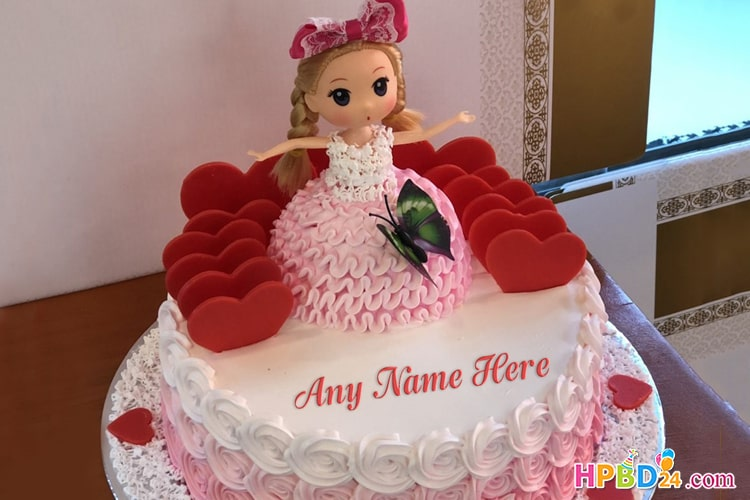 Latest Princess Doll Birthday Cake With Name Edit