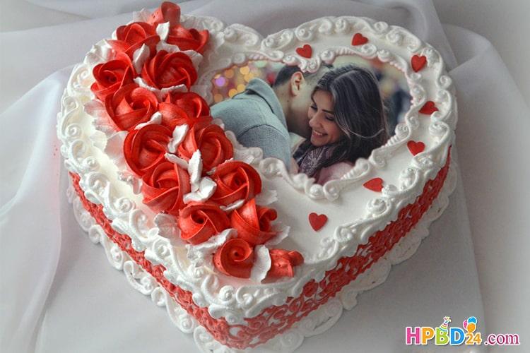 Romantic Love Heart Birthday Cake With Photo Frame