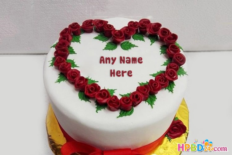 Creative Red Rose Birthday Cake With Name Editor