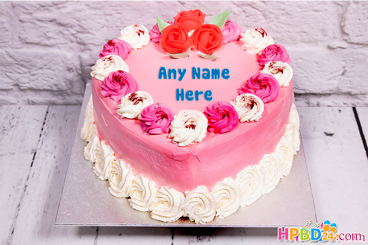 Romantic Pink Heart Birthday Cake With Name