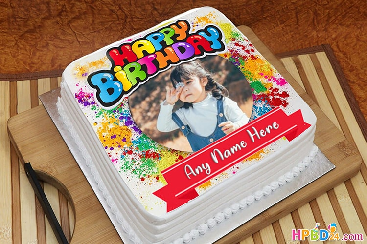 Birthday Cake With Picture.Colorful Birthday Cake With Names And Photos