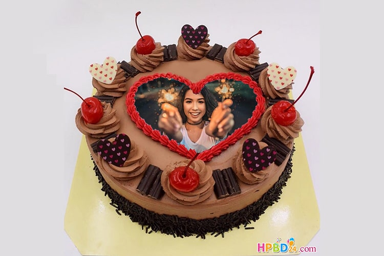 Chocolate Birthday Cake With Photo Frame