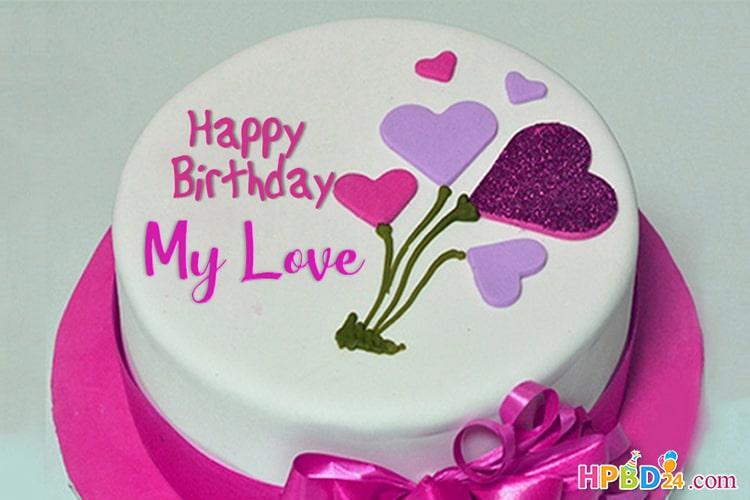 Pink Heart Birthday Cake Of Name Generator