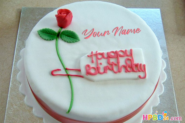 Magnificent Red Rose Birthday Cake Images With Name Edit Funny Birthday Cards Online Alyptdamsfinfo