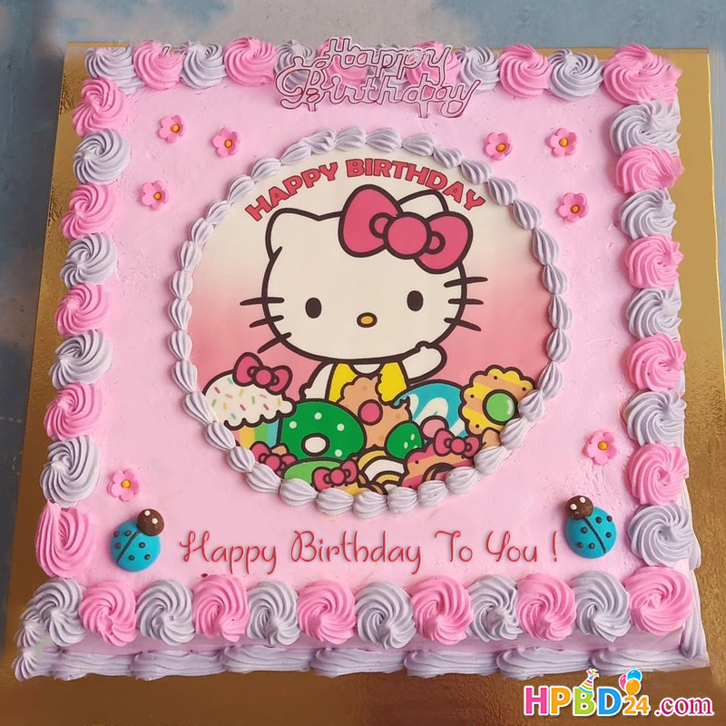 Wondrous Hello Kitty Birthday Cake For Kid Girls With Name Personalised Birthday Cards Cominlily Jamesorg