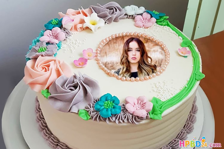 Best Flower Birthday Cake With Photo Edit