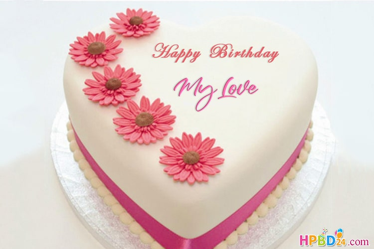 Beautiful Heart Flower Birthday Cake With Name Editor